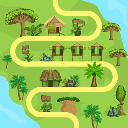 Map of Tropical Island with Bungalows, Top view, Summer Travel, Beach Resort Vector Illustration, Web Design.