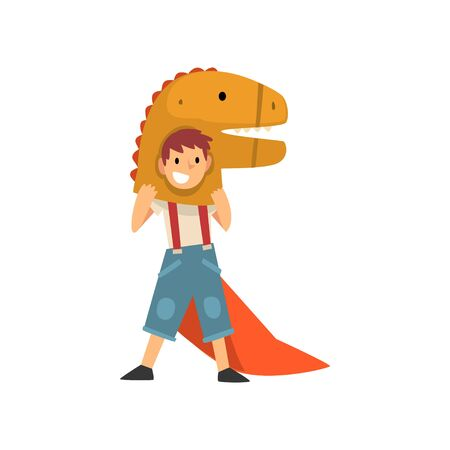 Smiling Boy in Dinosaur Costume, Kid Dressed for Carnival or Masquerade Party Vector Illustration 写真素材 - 124907676