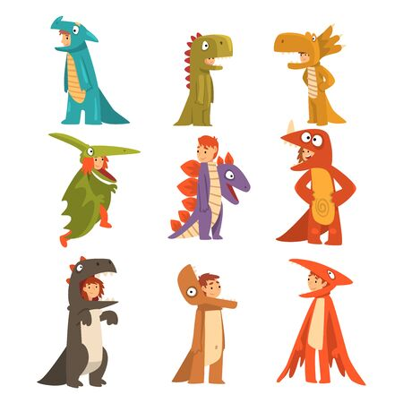 Collection of Cute Kids in Costumes of Dinosaurs and Dragons, Boys and Girls Dressed for Carnival or Masquerade Party Cartoon Vector Illustration on White Background.