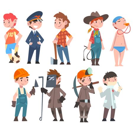 Niños de diversas profesiones, jugador de fútbol, leñador, vaquero, piloto, médico, entrenador de natación, soldador, minero, trabajador de la construcción ilustración vectorial sobre fondo blanco.