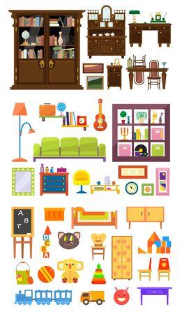Collection of Home Furniture, Interior of Cabinet, Living Room, Bedroom, Childrens Room Vector Illustration, Web Design