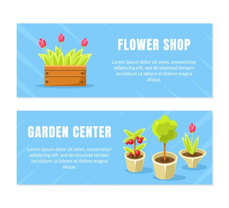 Flower Shop, Garden Center Horizontal Banners Templates Set, Brochure, Poster, Booklet, Flyer or Business Card Vector Illustration, Web Design