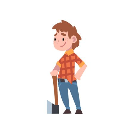 Chico lindo disfrazado de leñador, futura profesión de niños, chico en camisa a cuadros y jeans de pie con la ilustración de Vector de hacha sobre fondo blanco.