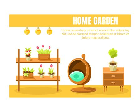 Home Garden Banner Template with Place for Text, Wooden Furniture and Home Plants, Flowers in Pots, Brochure, Poster, Booklet, Flyer or Business Card Vector Illustration