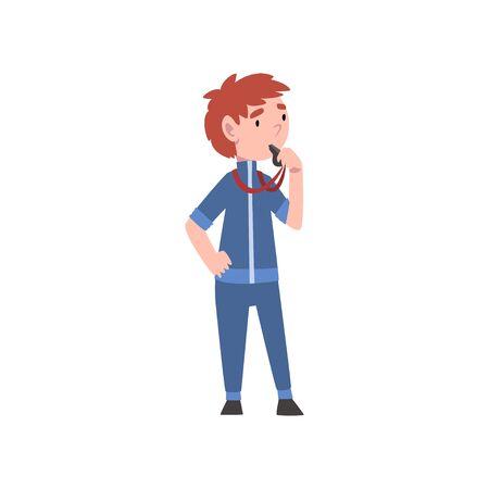 Chico lindo vestido como entrenador, fitness, instructor o entrenador, profesión futura de niños, chico en uniforme deportivo con ilustración de vector de silbato sobre fondo blanco.