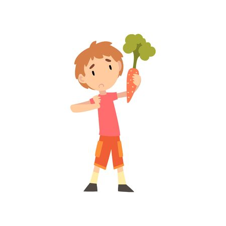 Cute Boy Does Not Want to Eat Carrot, Child Does Not Like Vegetables Vector Illustration Vector Illustration