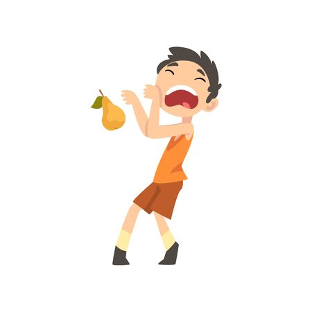 Cute Boy Does Not Want to Eat Pear, Child Does Not Like Fruits Vector Illustration Vector Illustration on White Background.