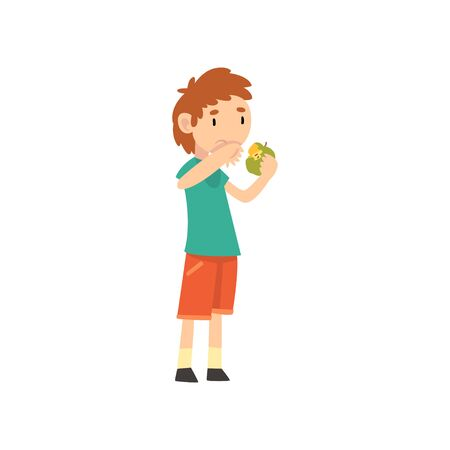 Cute Boy Does Not Want to Eat Apple, Child Does Not Like Fruits Vector Illustration Vector Illustration