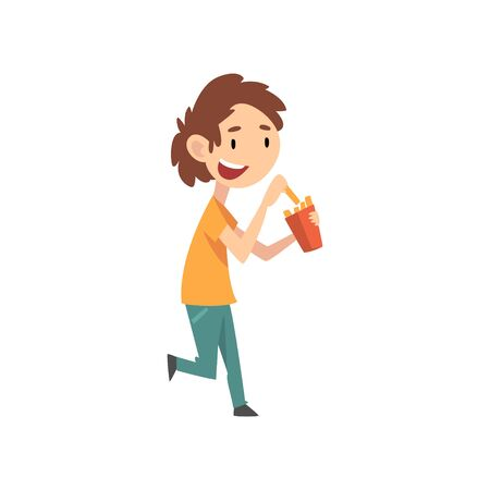 Cute Boy Eating French Fries, Child Enjoying Eating of Fast Food Vector Illustration on White Background.