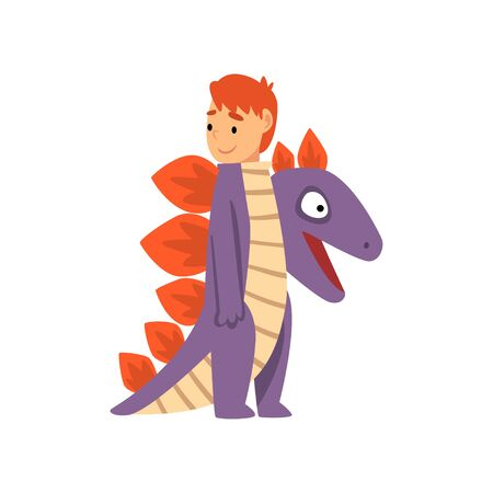 Cute Boy Wearing Dragon Costume, Kid Dressed for Carnival or Masquerade Party Vector Illustration