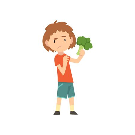 Cute Boy Does Not Want to Eat Brokkoli, Child Does Not Like Healthy Food Vector Illustration Vector Illustration on White Background.
