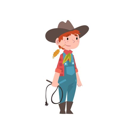 Cute Boy Dressed as Cowboy, Kids Future Profession, Boy in American Traditional Costume with Lasso Vector Illustration on White Background.
