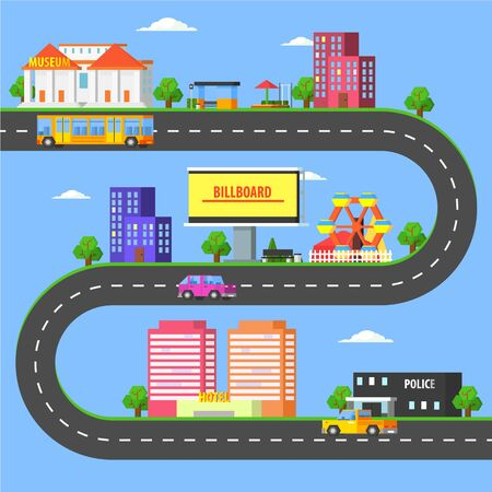 Map of Small Town Part, Summer Urban Landscape with Roads, City Transport and Public Buildings Vector Illustration 向量圖像