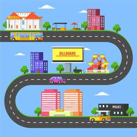 Mappa della parte di una piccola città, paesaggio urbano estivo con strade, trasporti urbani e illustrazione vettoriale di edifici pubblici