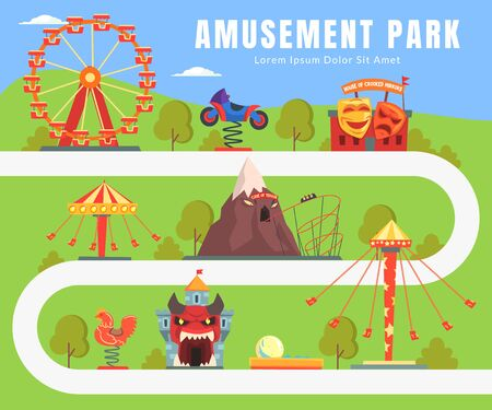 Map of Amusement Park, Summer Landscape, Attractions, Castle, Ferris Wheel, Seesaw Vector Illustration