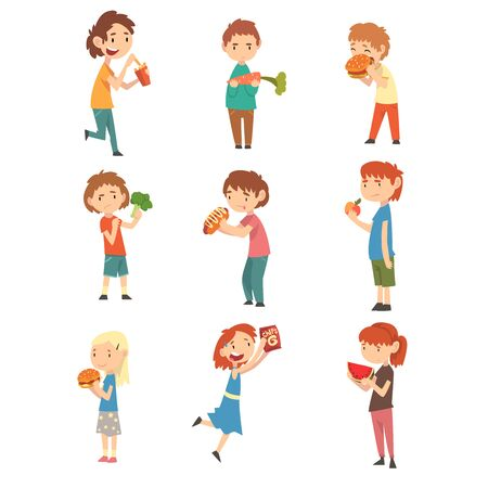 Cute Children Do Not Like Vegetables and Fruits Set, Boys and Girls Enjoying Eating of Fast Food Vector Illustration Çizim