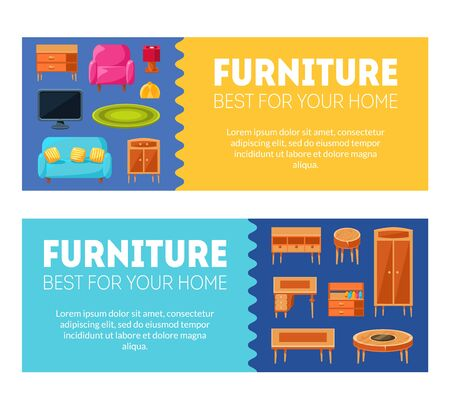 Furniture Horizontal Banners Templates Set, Best for Your Home, Interior Poster with Modern Home Furniture Vector Illustration, Web Design