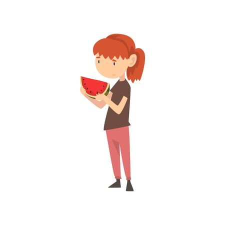 Cute Girl Does Not Want to Eat Watermelon, Child Does Not Like Healthy Food Vector Illustration Vector Illustration on White Background.