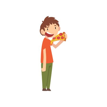 Cute Boy Eating Pizza, Child Enjoying Eating of Fast Food Vector Illustration on White Background.