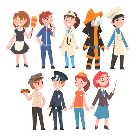 Kids of Various Professions Set, Maid, Coach, Doctor, Firefighter, Chef, Taxi Driver, Policeman, Fast Food Seller, Teacher Construction Worker Vector Illustration on White Background. Ilustração