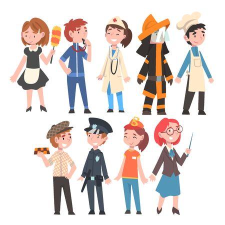 Kinderen van verschillende beroepen ingesteld, meid, coach, dokter, brandweerman, chef-kok, taxichauffeur, politieagent, fastfoodverkoper, leraar bouwvakker vectorillustratie op witte achtergrond.