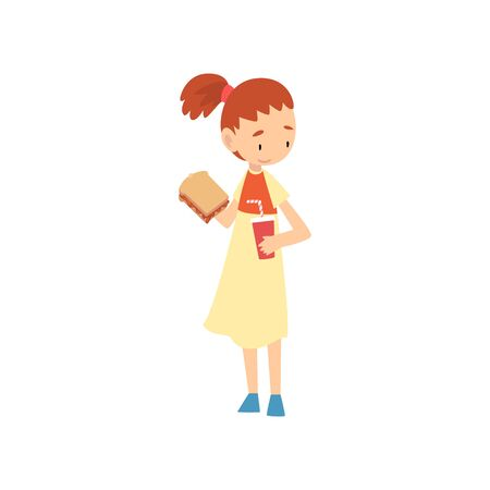 Cute Girl Holding Sandwich and Paper Cup of Soda Drink, Child Enjoying Eating of Fast Food Vector Illustration on White Background. Vettoriali