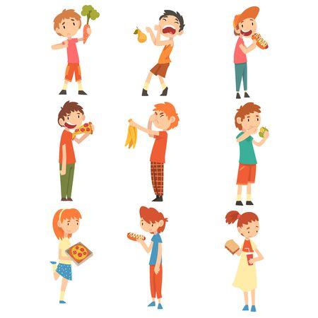 Children Do Not Like Vegetables and Fruits Set, Boys and Girls Enjoying Eating of Fast Food Vector Illustration Vector Illustration