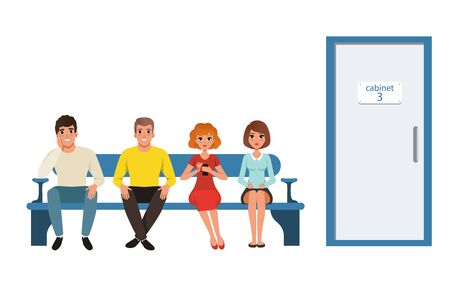 People Waiting in Line in Clinic Corridor, Queue of Four People Sitting on Bench Vector Illustration on White Background.