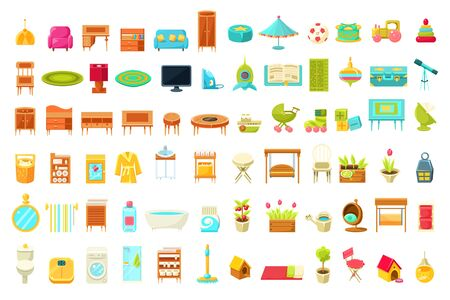 Collection of Home Furniture, Home Interior Decorations Elements of Living Room, Bedroom, Bathroom, Childrens Room Vector Illustration, Web Design Stockfoto - 128164514