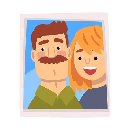 Family Portrait, Photo of Happy Smiling Man and Woman, Husband and Wife Vector Illustration