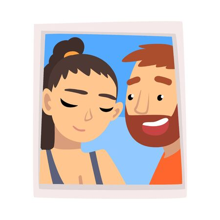 Portrait of Romantic Couple in Love, Photo Of Happy Man and Embarrassed Woman Vector Illustration on White Background.