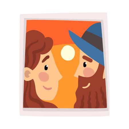 Portrait of Happy Couple in Love at Sunset, Photo of Happy Man and Woman Looking at Each Other Vector Illustration on White Background.