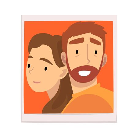 Portrait of Happy Couple in Love, Man and Woman Photo Vector Illustration on White Background. Illustration