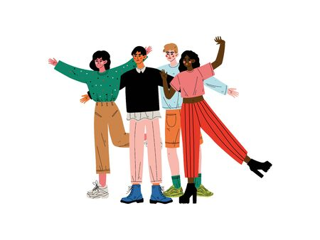 Group of Happy People Hugging, Girls and Guys Standing Together Celebrating Event Vector Illustration on White Background.