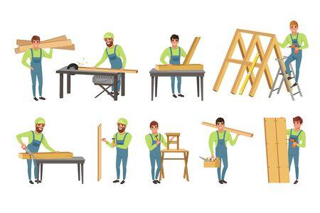 Jeu de caractères de charpentiers professionnels, hommes en uniforme coupant des planches de bois avec scie et construction de constructions en bois Illustration vectorielle sur fond blanc.