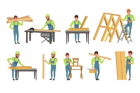 Professionelle Tischler Charaktere Set, Männer in Uniform schneiden Holzbohlen mit Säge und Holzkonstruktionen Vektor Illustration auf weißem Hintergrund bauen.