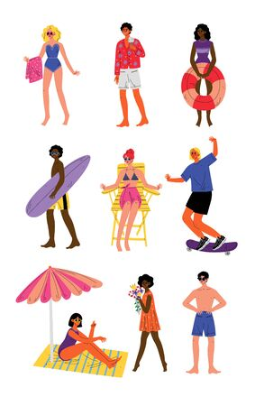 People Enjoying Summer Vacation Set, Young Men and Women Relaxing on Beach Vector Illustration on White Background.
