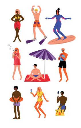 People Enjoying Summer Vacation Set, Young Men and Women Swimming, Sunbathing, Doing Sports, Relaxing on Beach Vector Illustration  イラスト・ベクター素材
