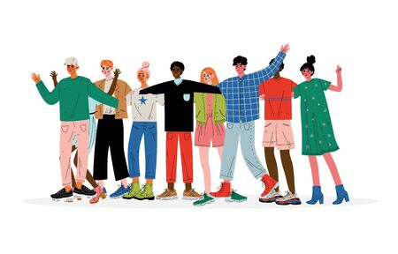Group of People Hugging, Male and Female Friends of Different Nationalities Standing Together Celebrating Event Vector Illustration on White Background.