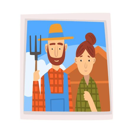Family Portrait, Photo of Farmer and His Wife Vector Illustration on White Background.