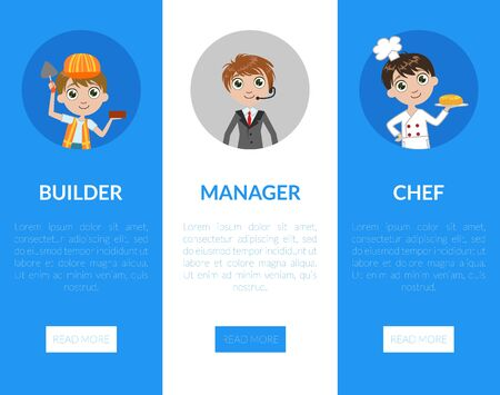 Kids of Different Professions Set, Builder, Manager, Chef Vertical Banners, Landing Page Templates, Kindergarten Career Day Vector Illustration