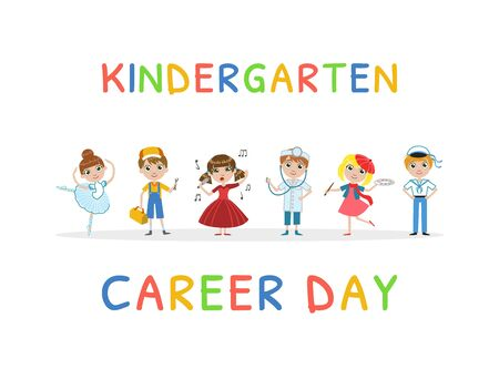 Kindergarten Career Day Banner Template, Kids Future Profession Vector Illustration, Web Design.