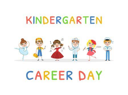 Kindergarten Career Day Banner Template, Kids Future Profession Vector Illustration, Web Design.