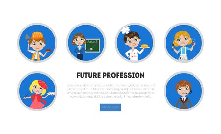 Kids of Different Professions Set, Future Profession Banner, Landing Page Template, Kindergarten Career Day Vector Illustration Ilustrace