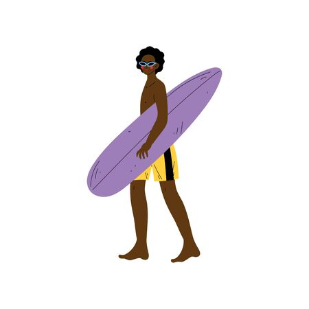 Male Surfer Walking with Surfboard, African American Young Man Enjoying Summer Vacation Vector Illustration on White Background. Ilustração