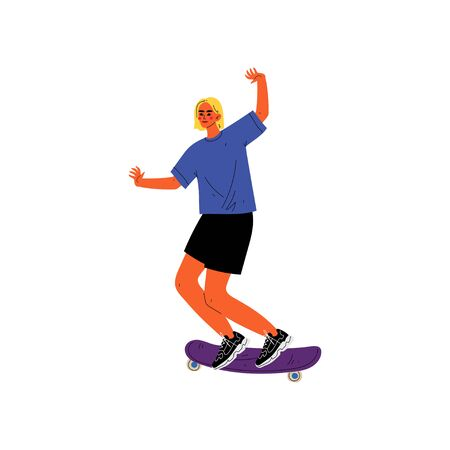 Young Man Riding Skateboard, Summer Sport, Physical Outdoor Activity Vector Illustration Illustration
