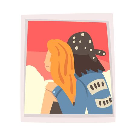 Portrait of Couple in Love, Photo of Loving Guy and Girl, View from Behind Vector Illustration on White Background. Illustration