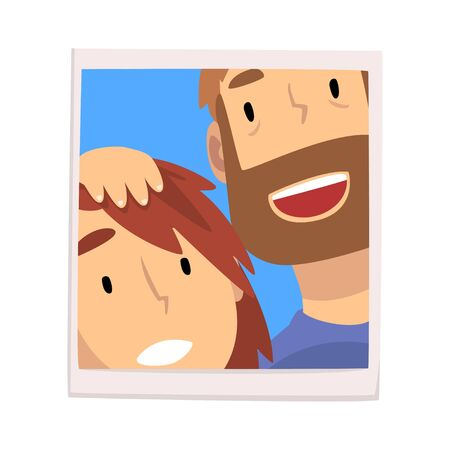 Portrait of Smiling Man and Woman, Happy Couple in Love Photo Vector Illustration on White Background. Illustration
