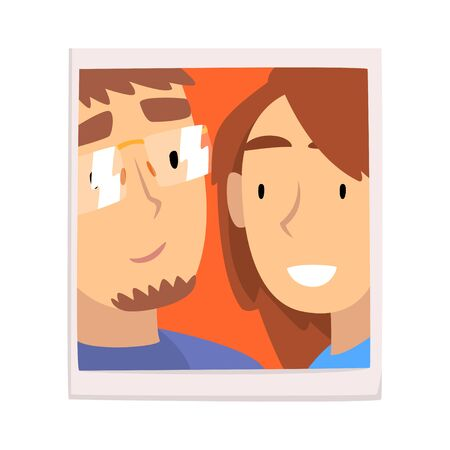 Portrait of Happy Guy and Girl, Smiling Couple in Love Photo Vector Illustration on White Background.