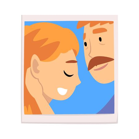 Portrait of Romantic Couple in Love, Photo of Happy Man and Woman Vector Illustration on White Background.